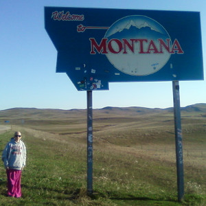 Image: Terri at the Montana state line.