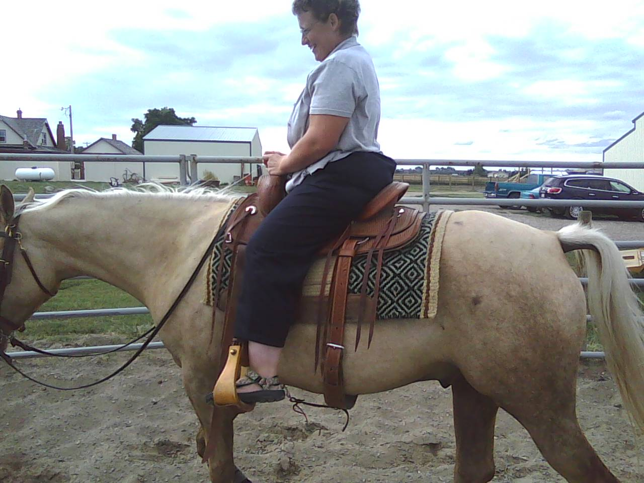 Image: Terri riding her step-daughter's horse in Montana.
